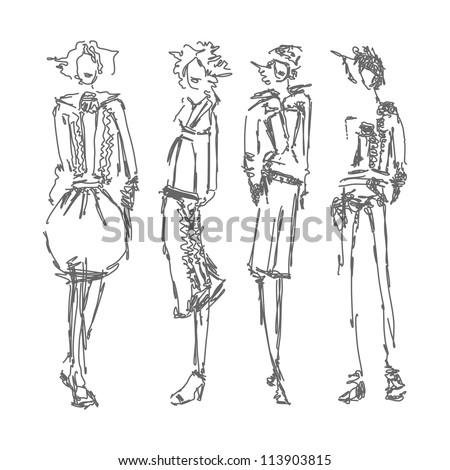 Fashion sketches - stock vector