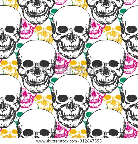 Fashion skulls pattern. Hand drawn seamless vector