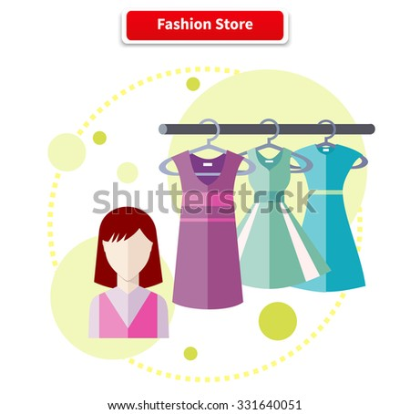 Fashion store shop with dresses clothes. Set of summer and autumn dresses clothes for office in fashion store. Store fashion, clothing store, fashion shopping, fashion boutique, shopping, retail store - stock vector