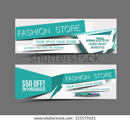 Fashion Store Web Banner, Header Layout Template.  - stock vector