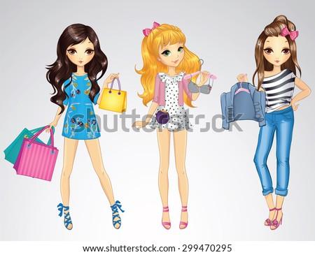 Fashion style shopping girls - stock vector