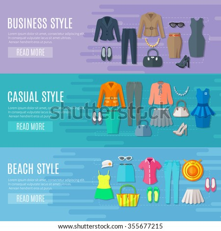 Fashion styles collection banners set of business beach and casual woman clothes flat vector illustration  - stock vector