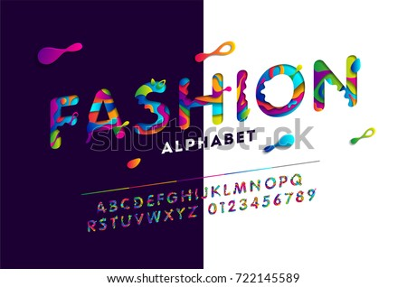 Fashion stylized alphabet with colorful carved paper elements. Abstract paper cut font. Vector illustration