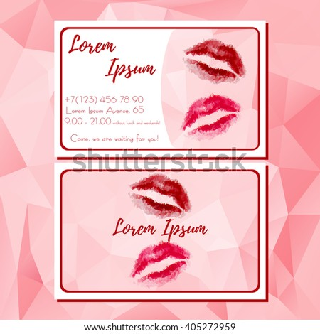 Fashion template of business card with red polygonal lips. Handbill with lips logo and contact information for cosmetics store. Design cutaway, visit card in polygonal style. Vector illustration - stock vector