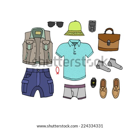 Fashion trendy look book. Isolated. Vector.