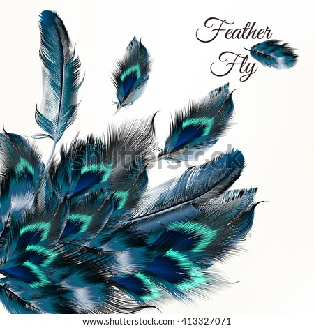 Fashion vector background with blue feathers  in realistic style for design - stock vector