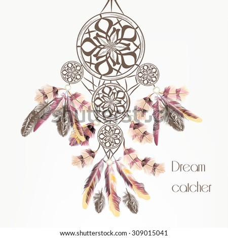 Fashion vector background with dream catcher from feathers - stock vector
