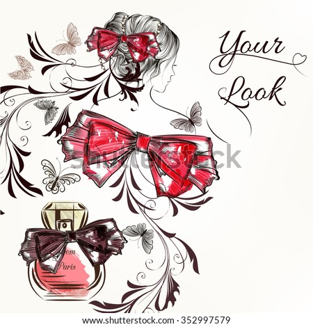 Fashion vector background with hand drawn female sketched portrait butterflies perfume and bow for design - stock vector