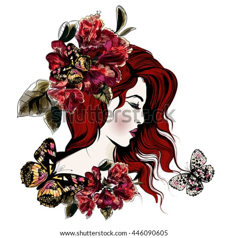 Fashion vector illustration with beautiful young long hared  woman and flowers on her head - stock vector