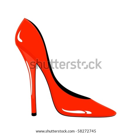 Fashion vector red woman shoes on white background