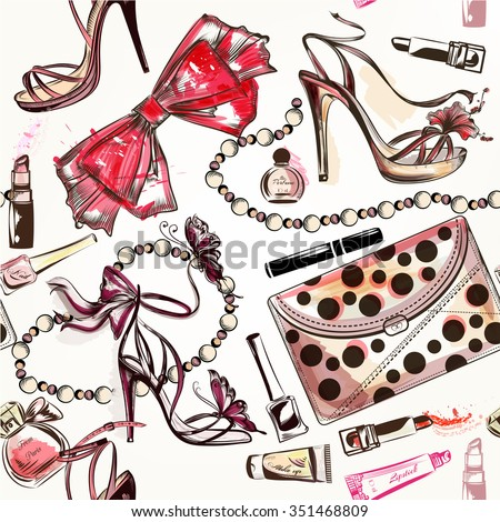 Fashion vector seamless background with pink hand drawn female shoes lipstick perfume and other cosmetics - stock vector