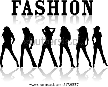 Fashion - vector work , black silhouettes