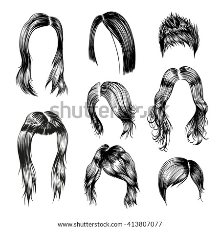 Fashion Woman Hairstyle Set Hand Drawn Stock Vector 413807077 Shutterstock