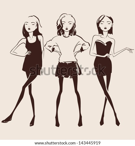 fashion woman hand drawn illustration vector eps 10