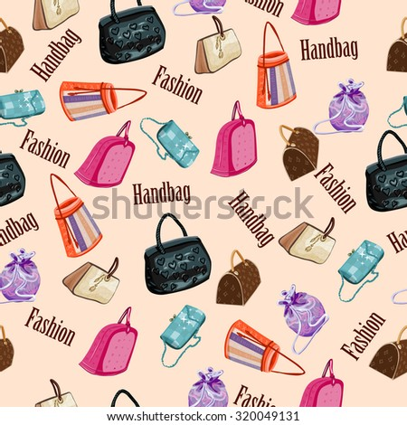 fashion woman handbags seamless pattern - stock vector