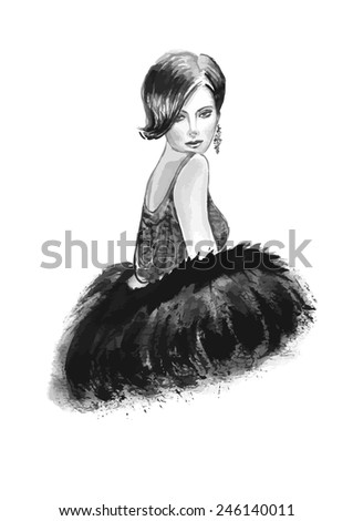 Fashion woman  in black and white color - stock vector