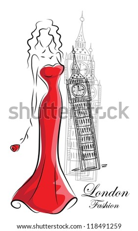 Fashion woman in London - stock vector