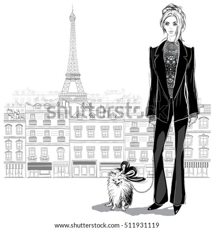 Fashion woman model in a pantsuit with a little dog on Paris city background,  vector illustration