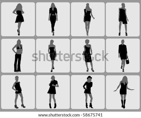 fashion woman set - stock vector