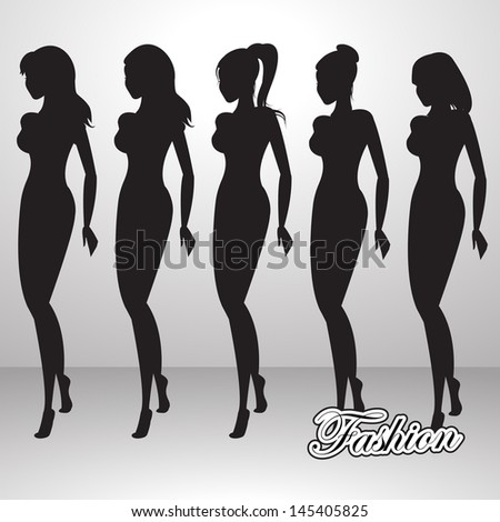Fashion Woman Silhouette Isolated On Gray Background - Vector Illustration, Graphic Design Editable For Your Design.