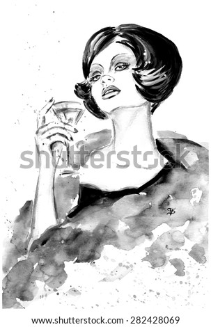Fashion woman with cocktail in black and white color - stock vector