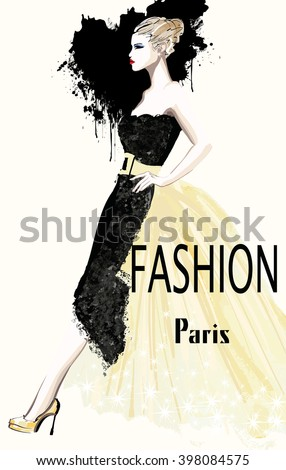 Fashion women defile - vector illustration - stock vector