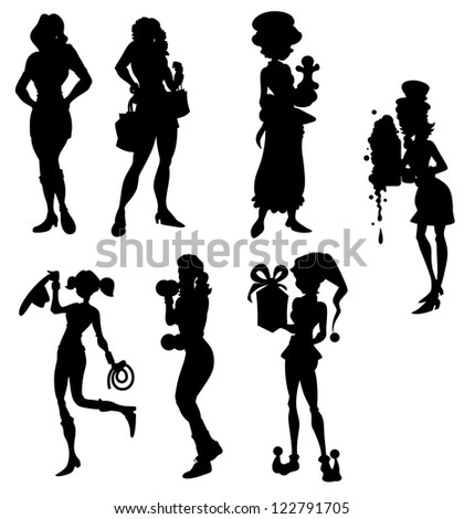 Stock Vector Set Of Female Silhouettes Retro S Style Mafia Theme Gangster Actress Dancer Starlet Journalist