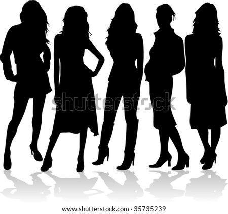 fashion women 5 silhouettes vector - stock vector