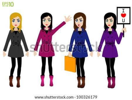 fashion women vector of beautiful winter girls - stock vector