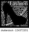 Fashion word cloud with fashion words in the shape of a stiletto shoe - stock vector
