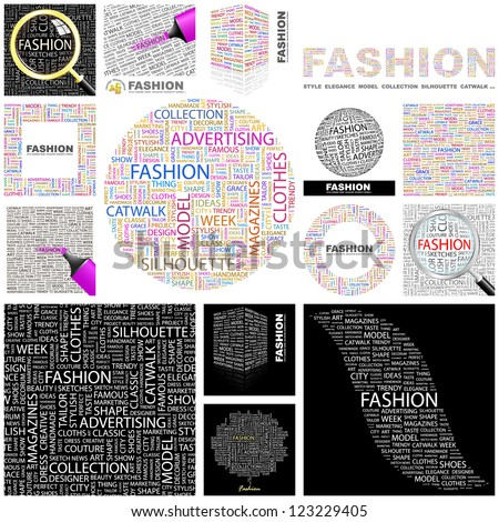 FASHION. Word collage. GREAT COLLECTION. - stock vector