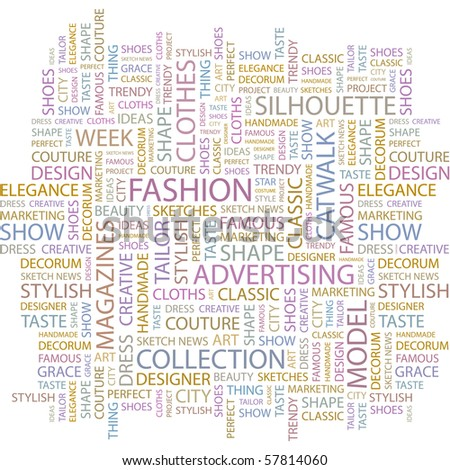 FASHION. Word collage on white background. Illustration with different association terms. - stock vector