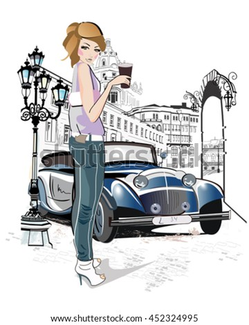 Fashion young girl drinking coffee in the street of old city. Vintage background decorated with a retro car. - stock vector