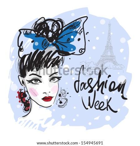 Fashion young girl . winter Paris. - stock vector