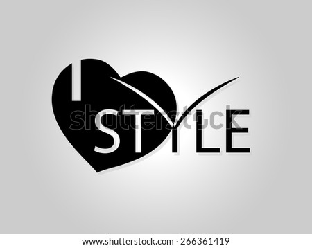 Fashionable background. Black letters on a white background. I love style - stock vector