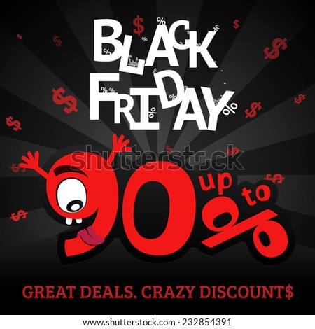 Fashionable Black Friday sale banner with funny crazy numbers
