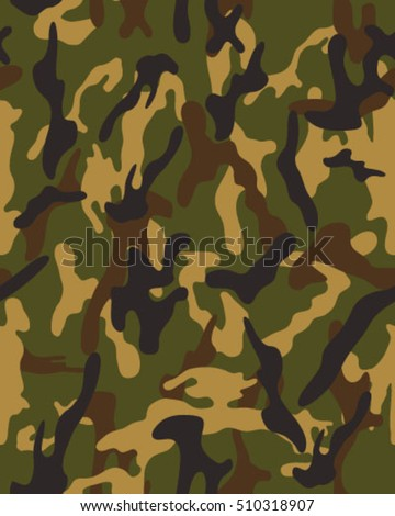 Fashionable Camouflage Pattern Vector IllustrationMilitary Print Seamless Wallpaper