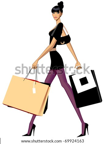 fashionable city woman - stock vector