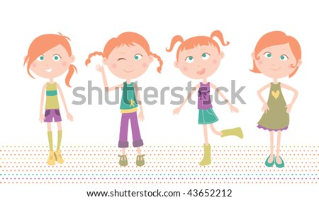Fashionable Girl. Vector illustration of a girl wearing 4 different styles of hair and clothes. - stock vector