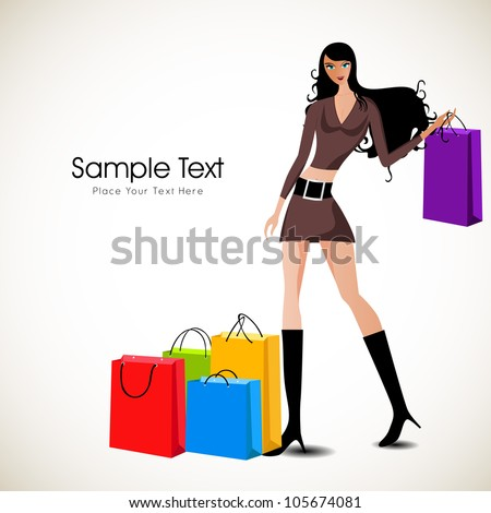 Fashionable girl with shopping bags. EPS 10. - stock vector