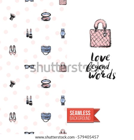 Fashionable Greeting Card For Vogue Girls Women Il Rated In Watercolor Style Seamless Pattern Background