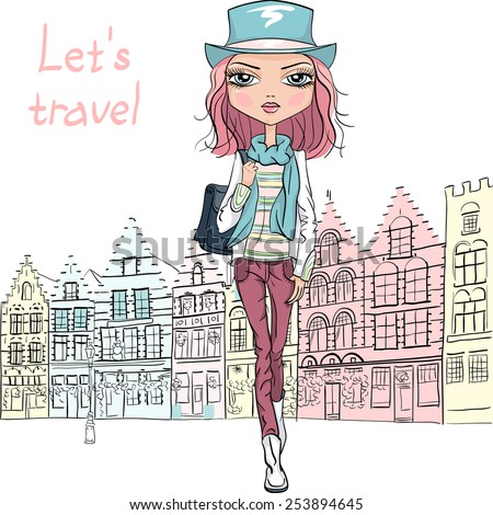 Fashionable hipster girl tourist in boots and hat on Grote Markt square of Brugge - stock vector
