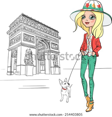 Fashionable hipster girl tourist in boots and hat with cute dog in Paris - stock vector