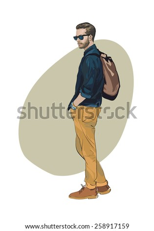 Fashionable man. freehand drawing vector.Can be used for banners, cards, covers, etc. - stock vector