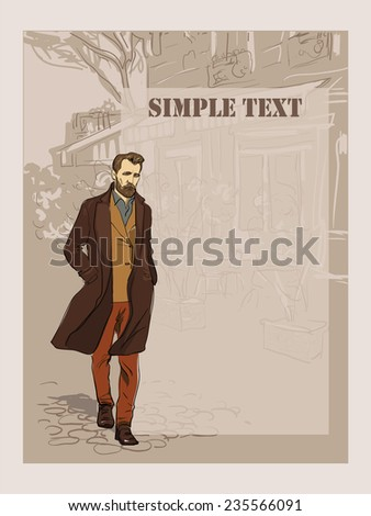 Fashionable man on the cityscape background. freehand drawing vector.Can be used for banners, cards, covers, etc. - stock vector