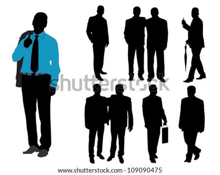 Fashionable men on white background - stock vector