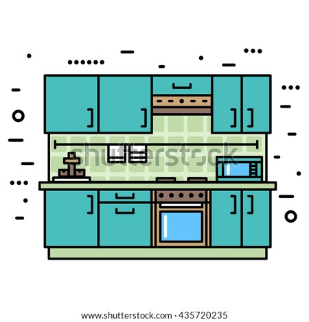 Fashionable, modern kitchen with furniture. Flat style vector illustration