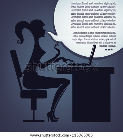 fashionable office girl and speech bubble, vector illustration