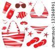 Fashionable set with a swimming suit. vector - stock vector
