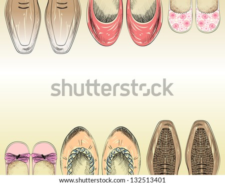 Fashionable shoes for the whole family. - stock vector
